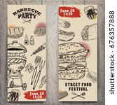 set of bbq party invitation... | Shutterstock .eps vector #676357888