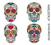 set of sugar skulls isolated on ... | Shutterstock .eps vector #676357894
