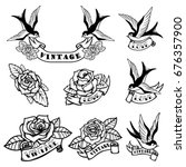 Stock vector set of tattoo templates with swallows and roses old school tattoo vector illustration 676357900