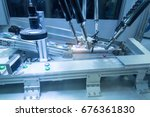 automatic robot in assembly... | Shutterstock . vector #676361830