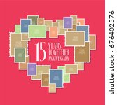 15 years of wedding or marriage ... | Shutterstock .eps vector #676402576