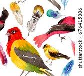 sky birds of paradise  pattern... | Shutterstock . vector #676415386
