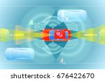 various automotive sensing... | Shutterstock .eps vector #676422670