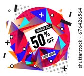 summer sale geometric style web ... | Shutterstock .eps vector #676426564