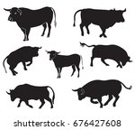 bulls set silhouettes. abstract ... | Shutterstock .eps vector #676427608
