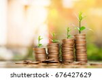 step of coins stacks with tree... | Shutterstock . vector #676427629