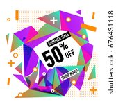 summer sale geometric style web ... | Shutterstock .eps vector #676431118