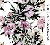 peonies seamless   pattern... | Shutterstock . vector #676432816