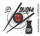 sketched poster for sushi bar   ... | Shutterstock .eps vector #676435564