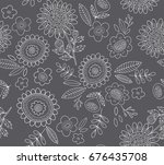 vector doodle floral pattern... | Shutterstock .eps vector #676435708