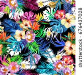 floral repeating tropical... | Shutterstock . vector #676437028
