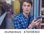 biometric verification. modern... | Shutterstock . vector #676438363
