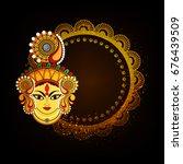 maa durga charan design with... | Shutterstock .eps vector #676439509