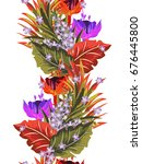 tropical seamless floral... | Shutterstock .eps vector #676445800
