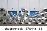 3d rendering rolls of steel... | Shutterstock . vector #676446463