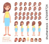 front  side  back view animated ... | Shutterstock .eps vector #676449724