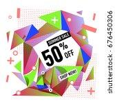 summer sale geometric style web ... | Shutterstock .eps vector #676450306