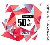 summer sale geometric style web ... | Shutterstock .eps vector #676450366