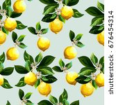 seamless citrus pattern.hand... | Shutterstock .eps vector #676454314