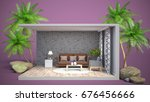 interior living room. 3d... | Shutterstock . vector #676456666