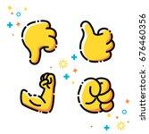vector flat line emoji icons...   Shutterstock .eps vector #676460356