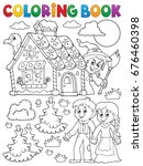 coloring book hansel and gretel ... | Shutterstock .eps vector #676460398