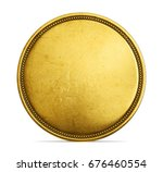 Old Golden Coin Isolated On A...