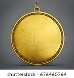 gold  winner medal  isolated on ... | Shutterstock . vector #676460764