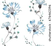 Stock photo seamless pattern with blue flowers background watercolor floral pattern with cornflower tile for 676462396