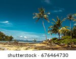 beach with coconut palm trees . ... | Shutterstock . vector #676464730