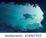 silhouette of scuba diver ... | Shutterstock .eps vector #676467910
