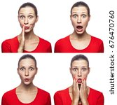 Small photo of Mosaic of the surprised or shocked girl with freckles and red t-shirt with four different amazed emotions. isolated on white. studio shot.