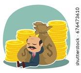 indian boss relaxing on money | Shutterstock .eps vector #676473610