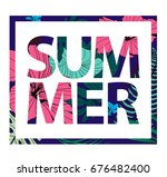 raster copy. colorful tropical... | Shutterstock . vector #676482400