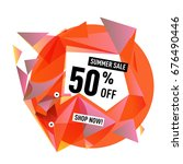 summer sale geometric style web ... | Shutterstock .eps vector #676490446