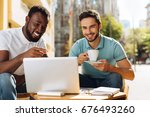 two enthusiastic guys spending... | Shutterstock . vector #676493260