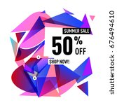 summer sale geometric style web ... | Shutterstock .eps vector #676494610