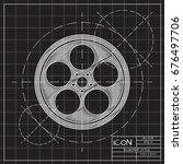 vector blueprint retro bobbin... | Shutterstock .eps vector #676497706