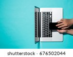 top view with laptop and male... | Shutterstock . vector #676502044