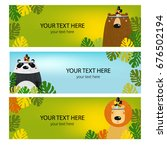 vector set of banners with cute ... | Shutterstock .eps vector #676502194