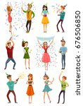 birthday party celebrating... | Shutterstock .eps vector #676506850