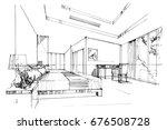 sketch perspective interior....   Shutterstock .eps vector #676508728