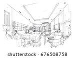 sketch perspective interior.... | Shutterstock .eps vector #676508758