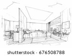 sketch perspective interior.... | Shutterstock .eps vector #676508788