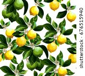 seamless citrus pattern.hand... | Shutterstock .eps vector #676515940