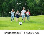 cute happy multiethnic kids... | Shutterstock . vector #676519738