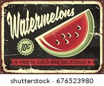watermelons retro advertise...   Shutterstock .eps vector #676523980