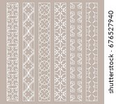 vector set of line borders with ... | Shutterstock .eps vector #676527940