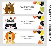 vector set of banners with cute ... | Shutterstock .eps vector #676529500