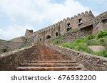 golconda fort in hyderabad ... | Shutterstock . vector #676532200